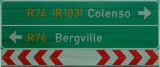 Roadsign, R74 left to Bergville, right to Colenso